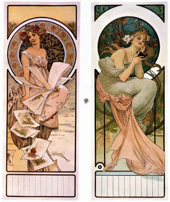 Календарь, реклама шампанского, 1897. Альфонс Мария Муха