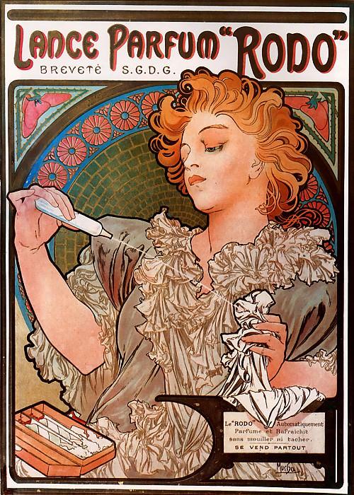 Lance parfum Rodo. Alphonse Maria Mucha