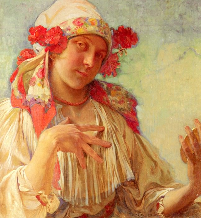 Young Girl In A Moravian Costume. Alphonse Maria Mucha