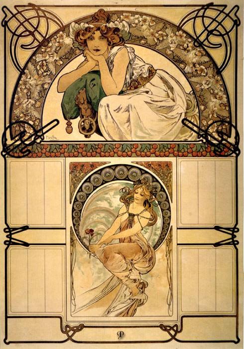 -Цветущее вишневое дерево- на Обложке календаря, 1898. Альфонс Мария Муха