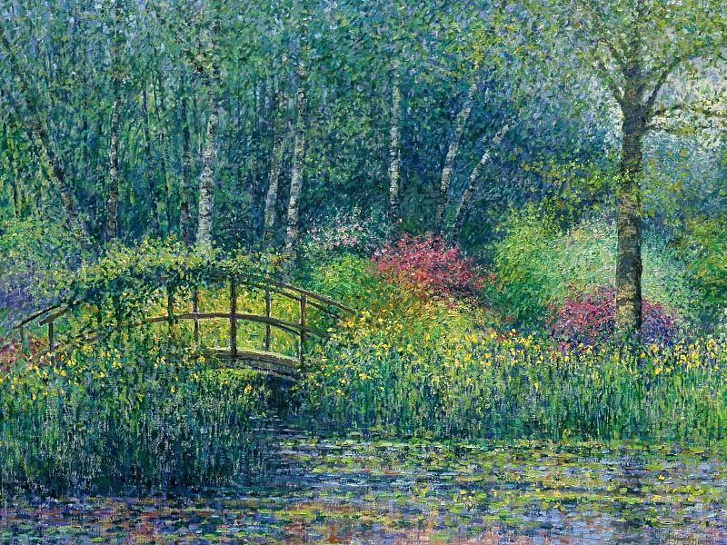 Japanese Bridge & Pond, Charles Neal, 1998 - 1600x1200 - ID. Charles Neal