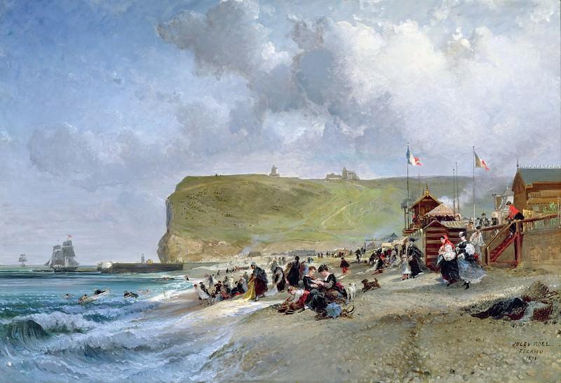 Crinolines on the Beach at Fecamp. Jules Achille Noel
