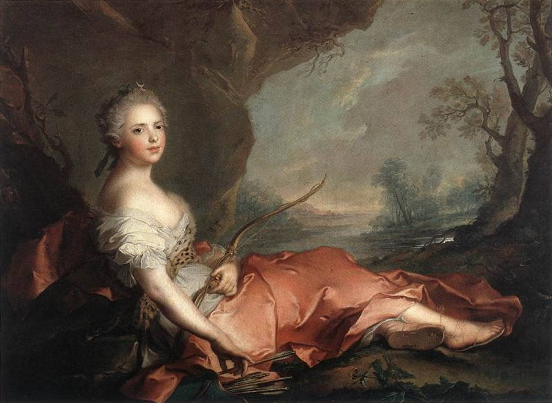 Portrait of Maria Adelaide of France, daughter of Louis XV dressed as Diana. Jean Marc Nattier