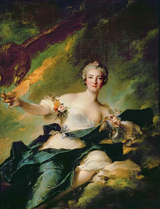 A Portrait of Anne Josephe Bonnier de la Mossau (1718-1787) Duchess of Chaulnes, as Hebe the Goddess.... Jean Marc Nattier