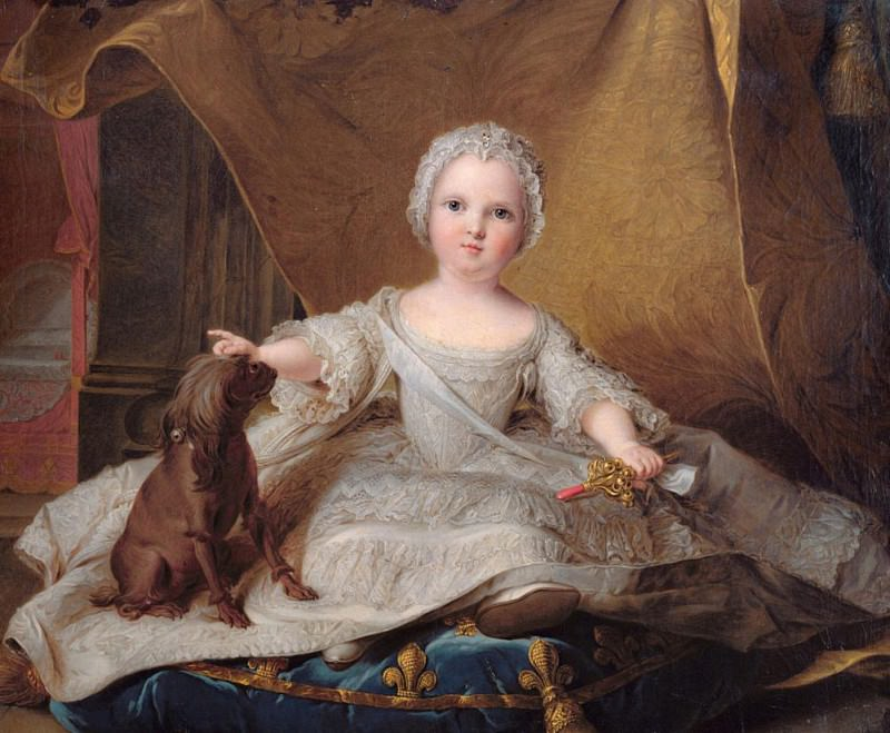 Portrait of Marie-Zephyrine (1750-55) of France with her Dog. Jean Marc Nattier