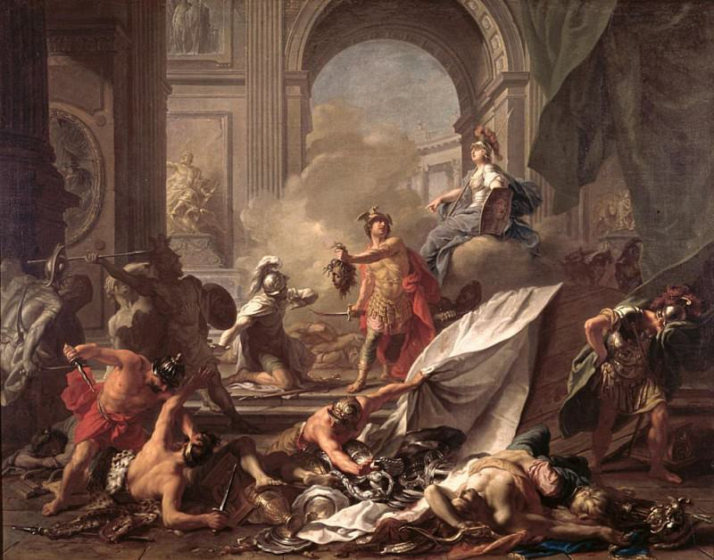 Perseus, under the protection of Minerva, turns Phineus to stone by brandishing the head of Medusa. Jean Marc Nattier