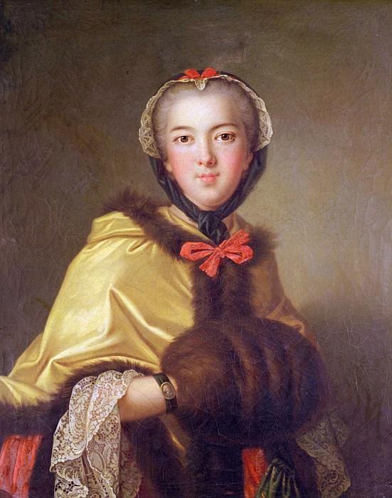 Portrait of Louis-Henriette de Bourbon-Conti, with muffler. Jean Marc Nattier