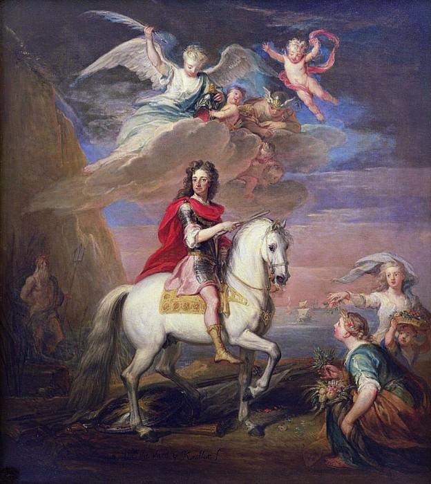 Вильгельм III на сером жеребце, наблюдаемый Нептуном, Церерой и Флорой. Меркурий в небе и Астрея. Сэр Годфри Неллер