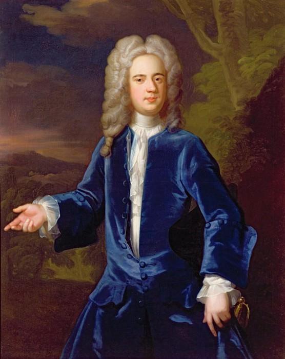 Portrait of a gentleman in a blue velvet coat. Sir Godfrey Kneller