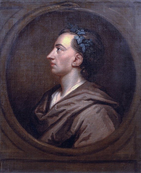 Alexander Pope (1688-1744) Profile, Crowned with Ivy. Sir Godfrey Kneller