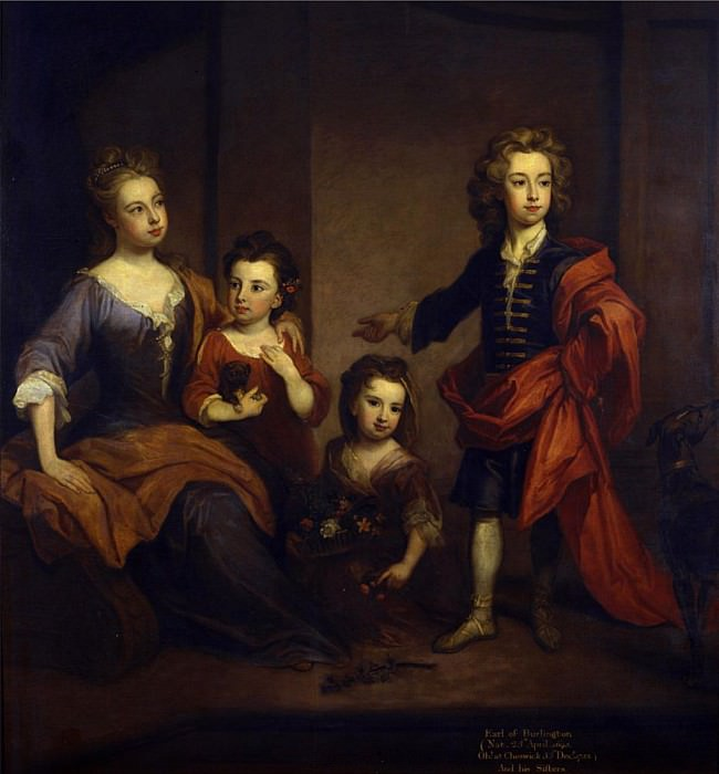Portrait of Richard Boyle, 3rd Earl of Burlington, with his three sisters. Sir Godfrey Kneller