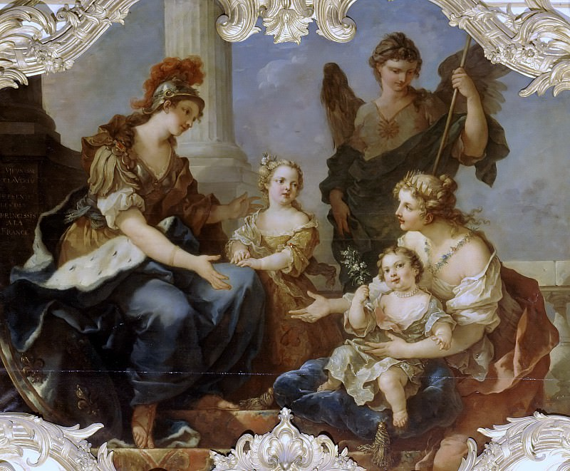 Youth and Virtue are the two princesses of France Adelaide and his sister Marie-Louise. Charles-Joseph Natoire