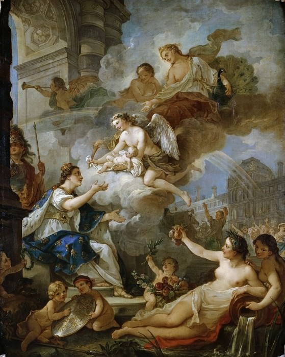 Allegory of the birth of Marie de France, daughter of the Dauphin Louis de France. Charles-Joseph Natoire