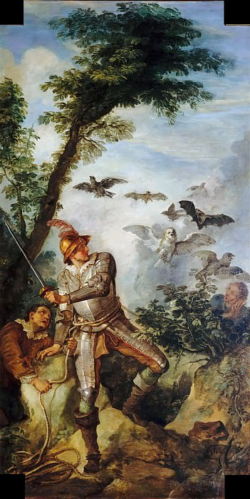 Don Quixote and the birds in the cavern of Montesinos. Charles-Joseph Natoire