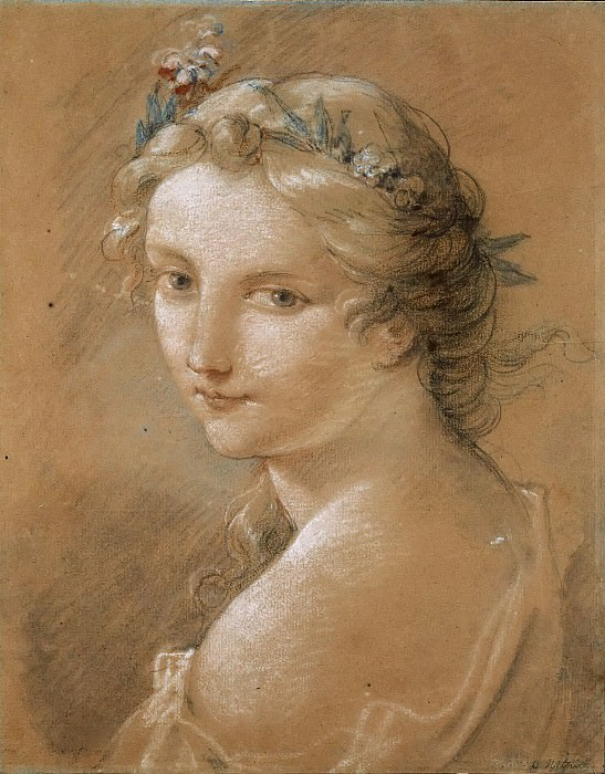Head of a young woman crowned with flowers. Charles-Joseph Natoire