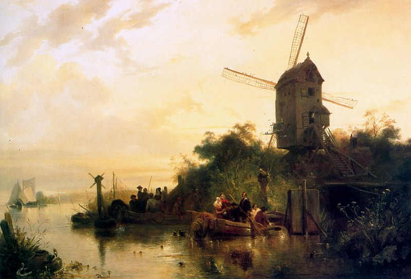 Waterland with mill. Wijnandus Nuyen