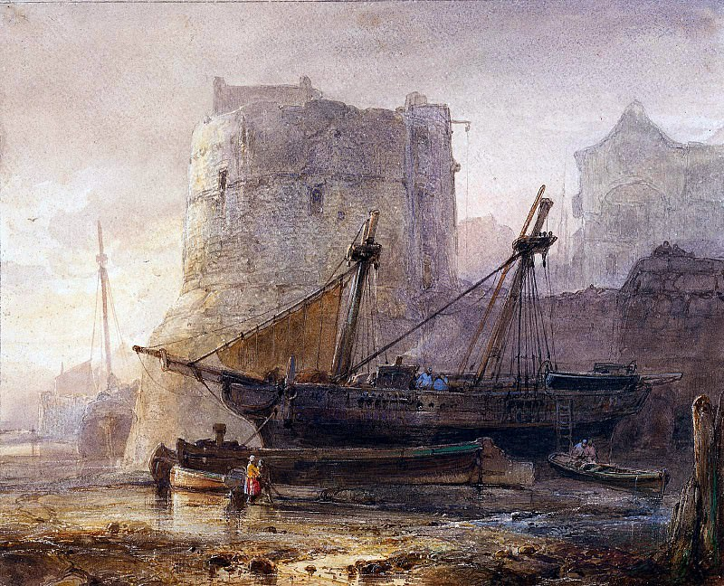 Ships in a French harbour. Wijnandus Nuyen