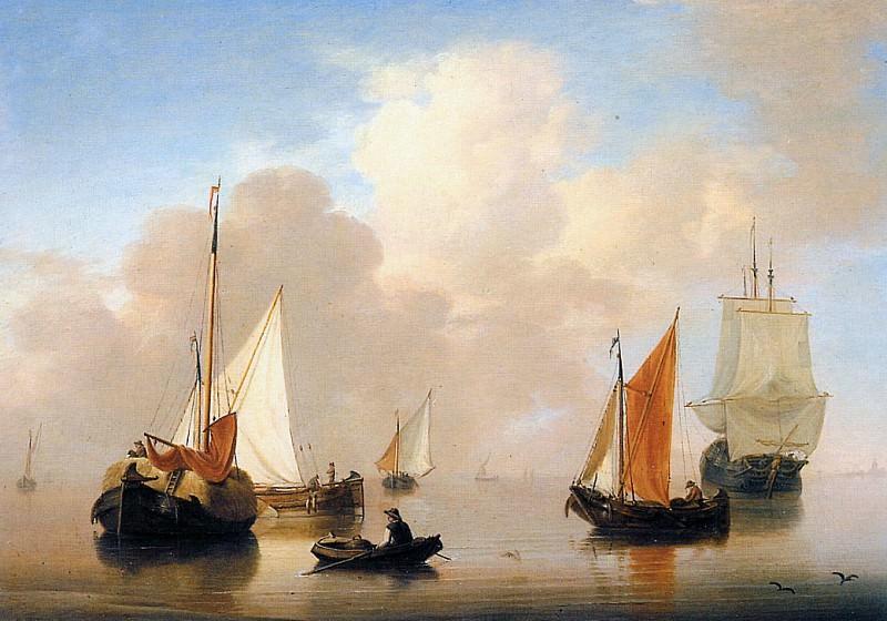 Dutch ships resting on a calm sea. George Jacobus Johannes van Os