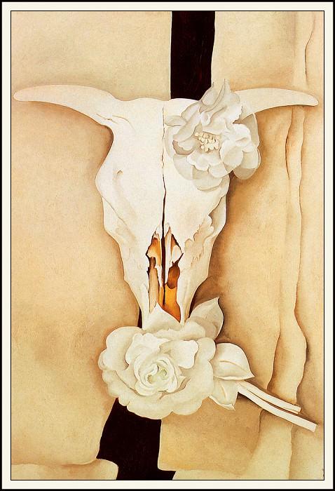 Коровий череп с розами из коленкора. Джорджия ОКиф