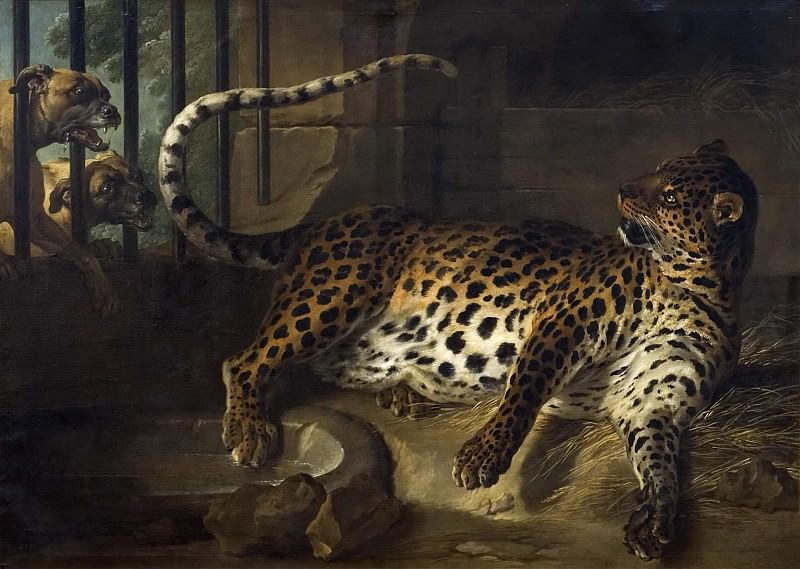 Leopard in a Cage confronted by two Mastiffs. Jean-Baptiste Oudry