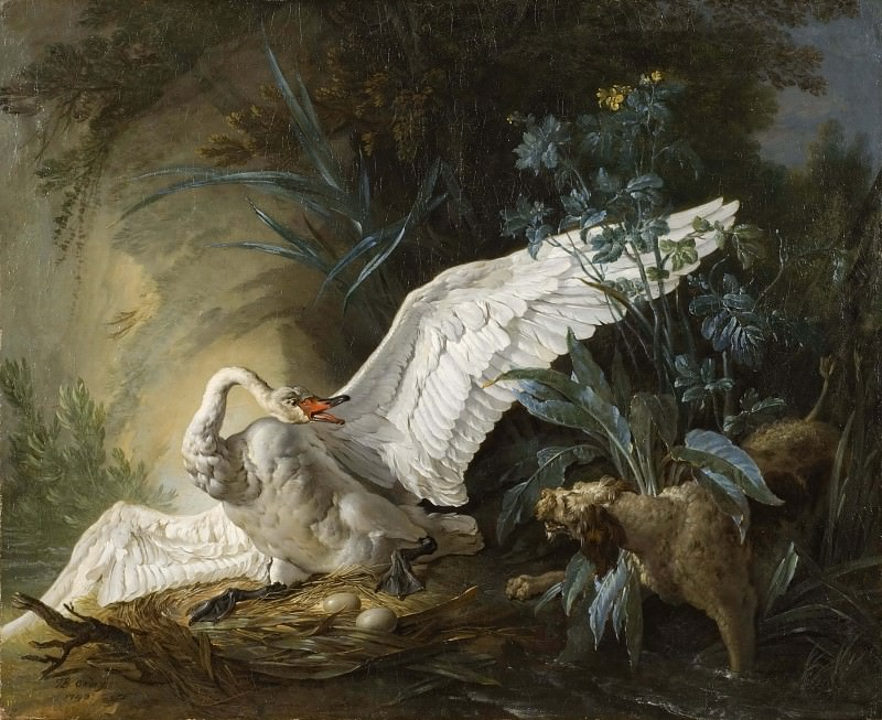 Water Spaniel Surprising a Swan on its Nest. Jean-Baptiste Oudry