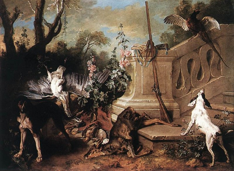 Still life with spaniel chasing ducks. Jean-Baptiste Oudry