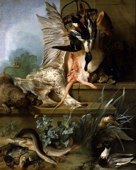 Still Life with a Spaniel Chasing Ducks. Jean-Baptiste Oudry