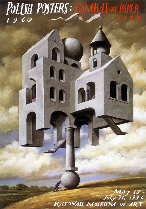 am-Rafal Olbinski Polish Posters Combat on Paper. Рафал Ольбиньский