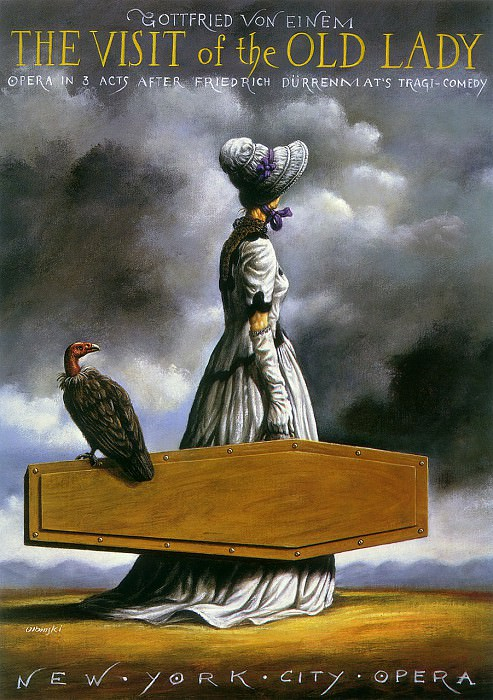 The Visit of the Old Lady. Rafal Olbinski