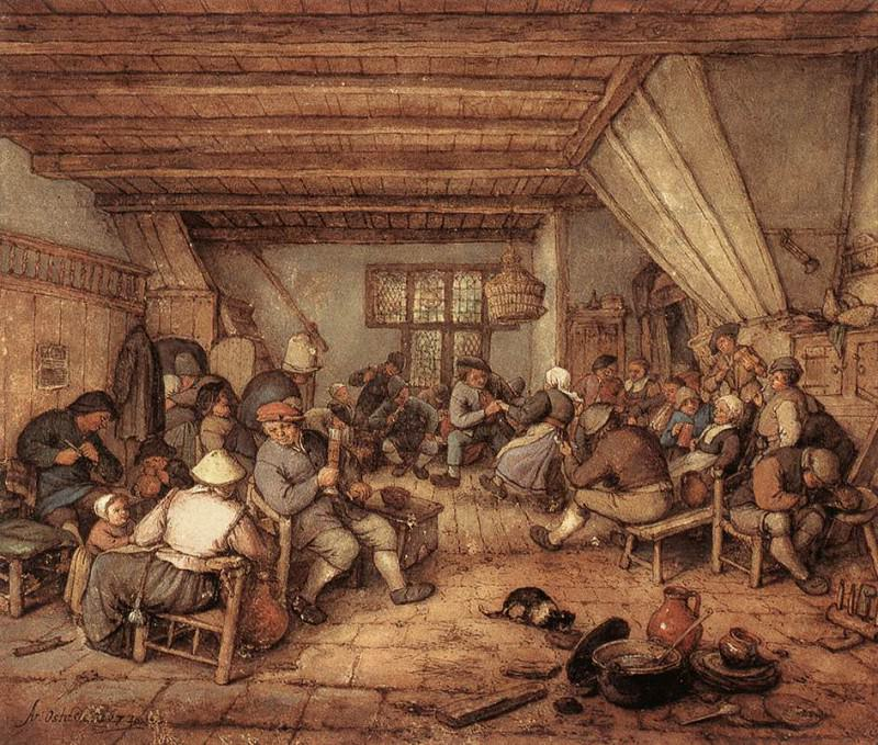 Feasting Peasants In A Tavern. Adriaen Van Ostade