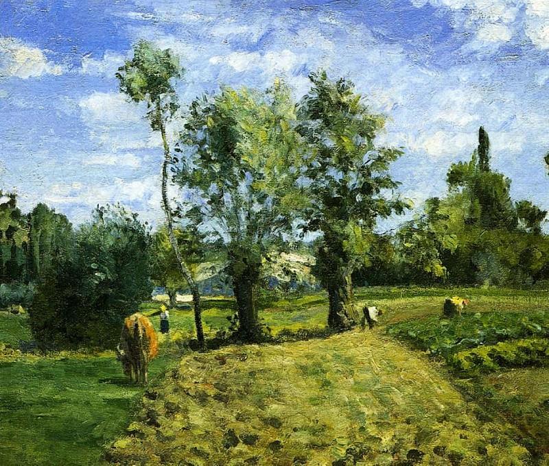 Spring Morning, Pontoise. (1874). Camille Pissarro
