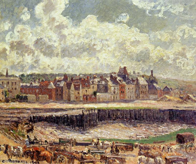 Dieppe, Dunquesne Basin, Sunlight Effect, Morning, Low Tide. Camille Pissarro
