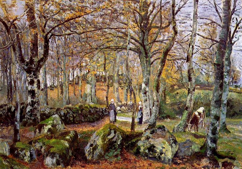 Landscape with Rocks, Montfoucault. (1874). Camille Pissarro