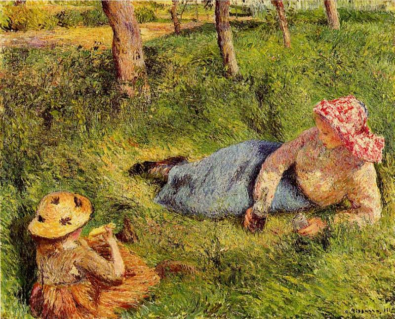 The Snack, Child and Young peasant at Rest. (1882). Camille Pissarro