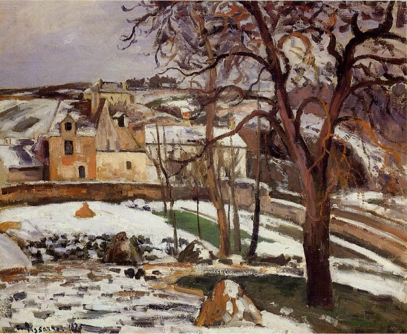 The Effect of Snow at lHermitage, Pontoise. (1875). Camille Pissarro