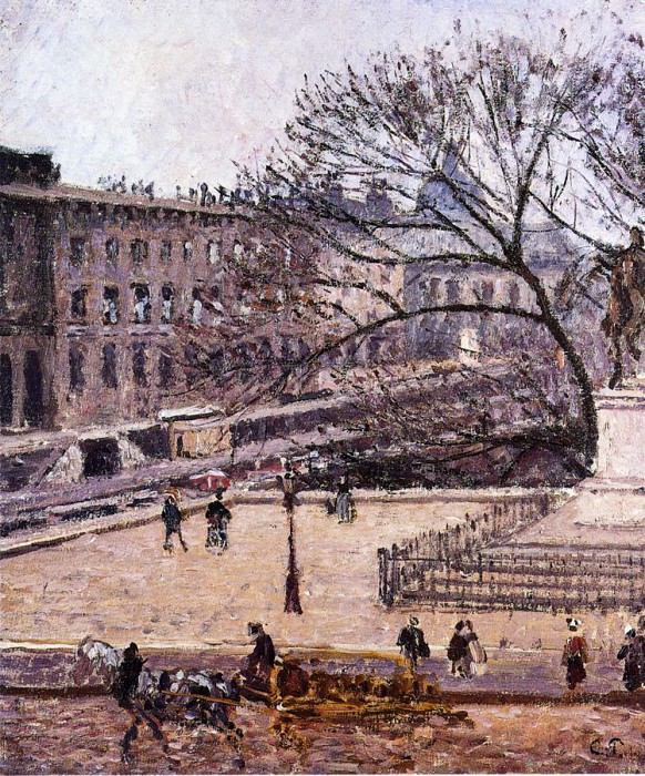 The Treasury and the Academy, Gray Weather. (1903). Camille Pissarro