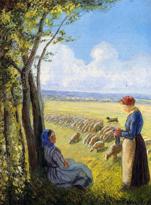 Shepherdesses. (1887). Camille Pissarro