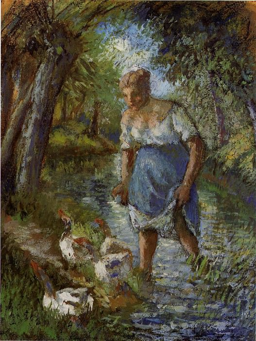Peasant Crossing a Stream. (1894). Camille Pissarro