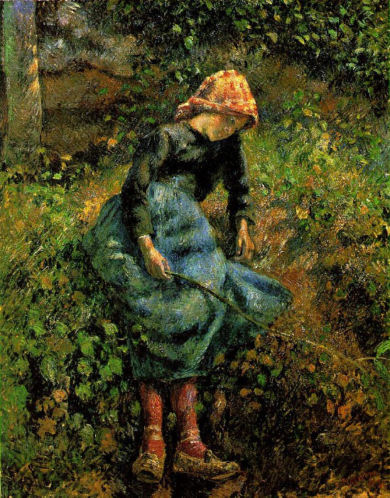 The Shepherdess (Young Peasant Girl with a Stick). (1881). Camille Pissarro