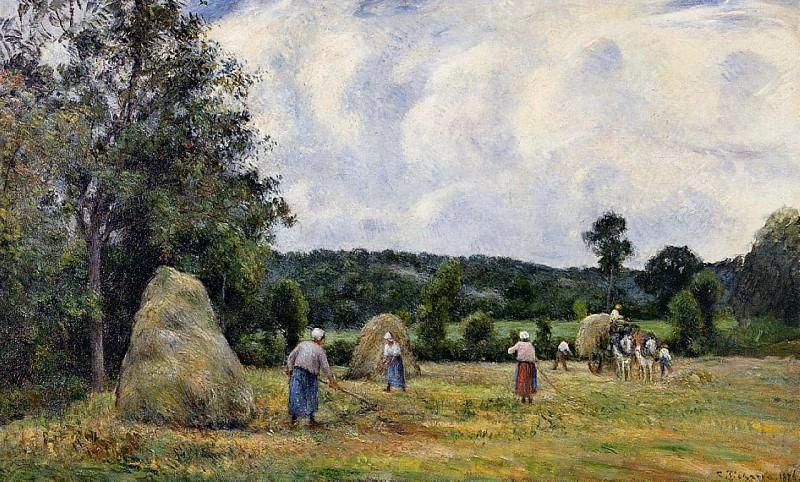 Заготовка сена в Монфуко (1876). Камиль Писсарро