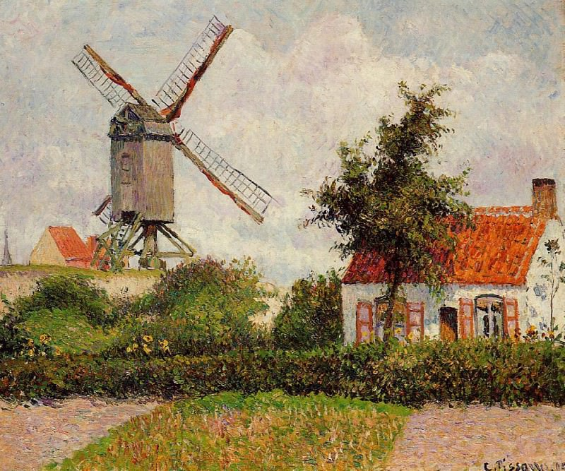 Windmill at Knocke, Belgium. (1894). Camille Pissarro