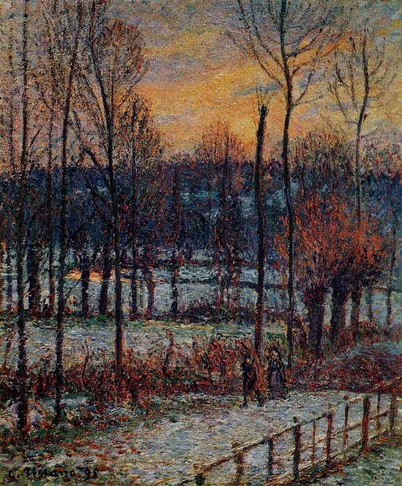 The Effect of Snow, Sunset, Eragny. (1895). Camille Pissarro