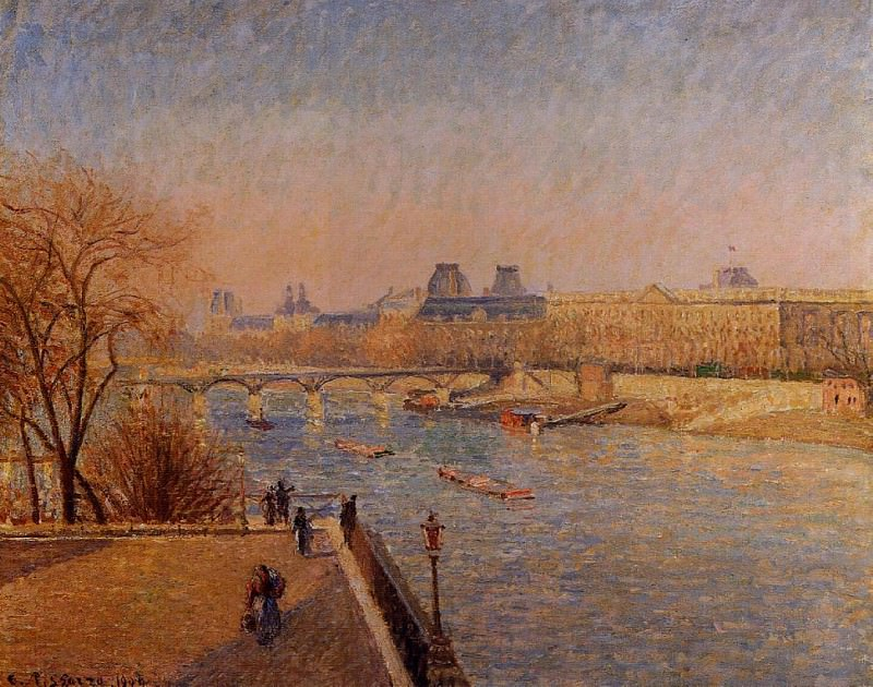 The Louvre - Winter Sunshine, Morning. (1900). Camille Pissarro