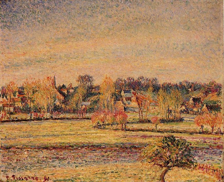 Frost, View fom Bazincourt. (1891). Camille Pissarro