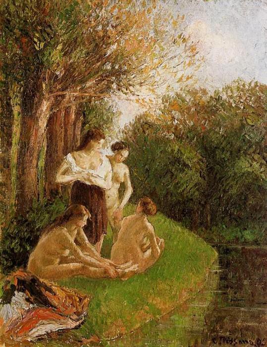 Bathers 2. (1895). Camille Pissarro