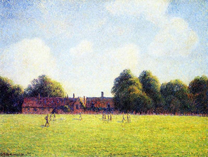 Hampton Court Green, London. (1891). Camille Pissarro