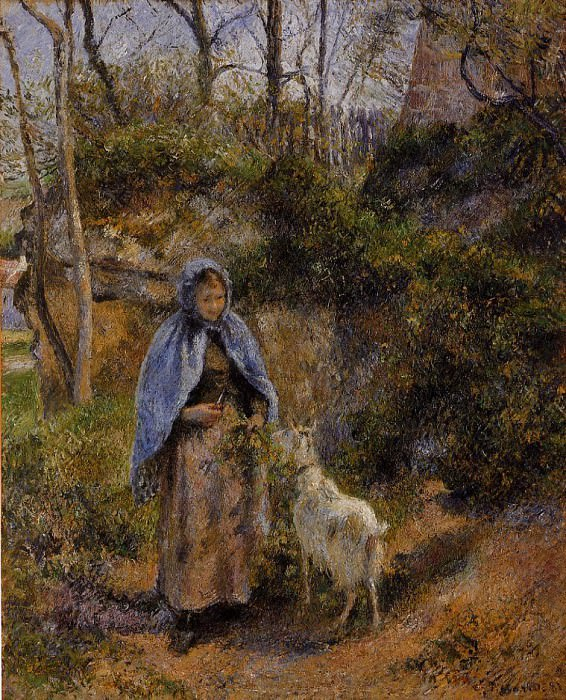 Peasant Woman with a Goat. (1881). Camille Pissarro