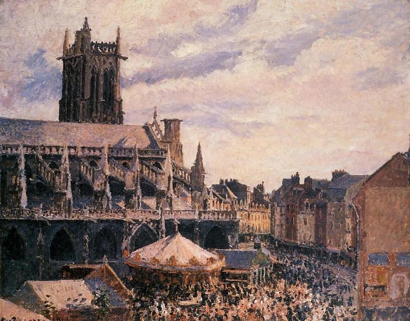 Рынок у церкви Сен-Жак, Дьеп (1901). Камиль Писсарро