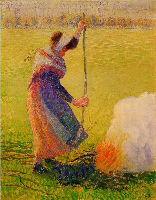 Woman Burning Wood. (1890). Camille Pissarro