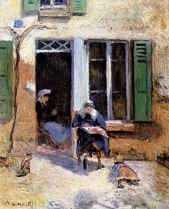 Woman and Child Doing Needlework. (1877). Camille Pissarro
